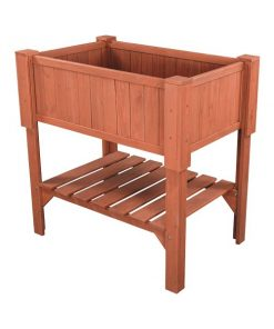 Nostalgia Weather Resistant Wooden Raised Garden Bed 1-shelf Rectangle Planter Box