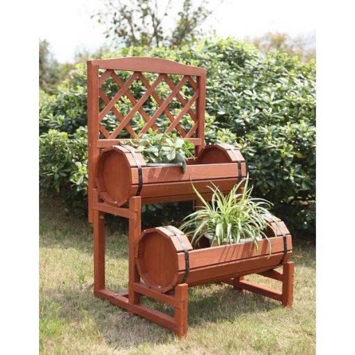 Perpignan Wooden Convenience Concepts Double Barrel Planter