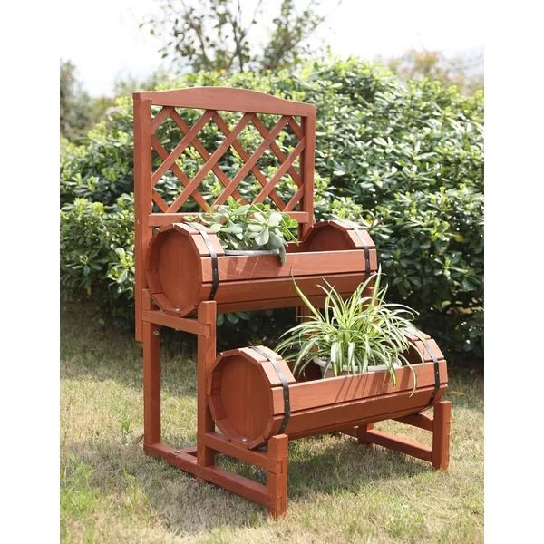Perpignan Wooden Convenience Concepts Double Barrel Planter
