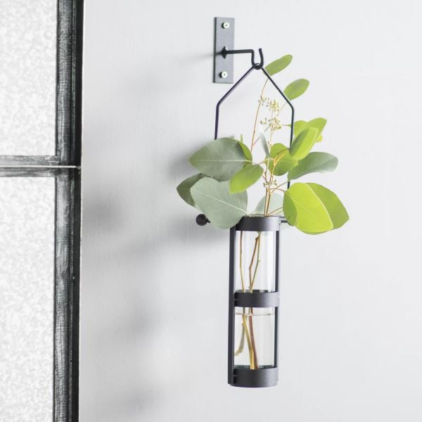 Peter Black Metal Wall Mount Hanging Glass Cylinder Decorative Vases