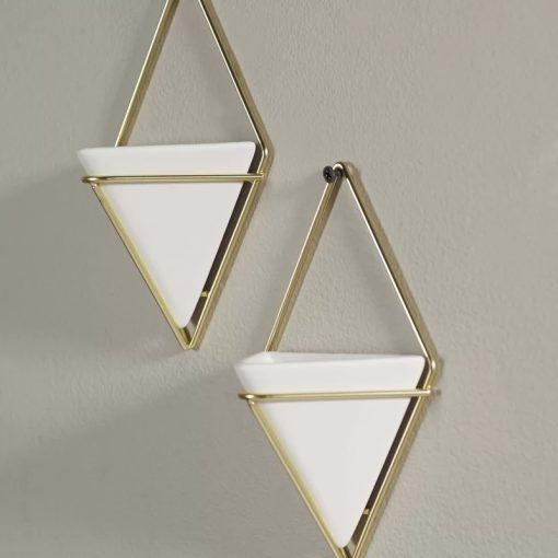 Quinn Set of 2 Geometric Wall Hanging Decorative Mini Vases Planter