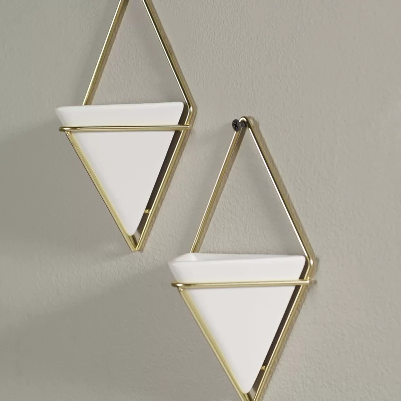 Quinn Set of 2 Geometric Wall Hanging Decorative Mini Vases Planter