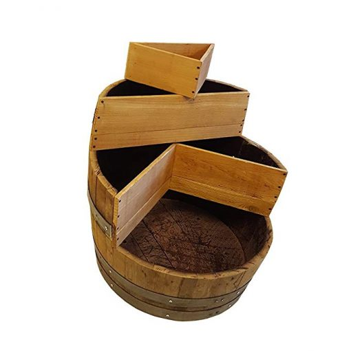 Rifle Wood Multi-Tiers Barrel Planter With 2 Triangle Beds