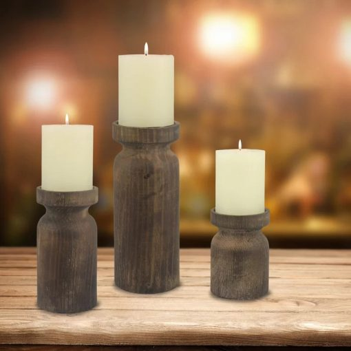 Rosado Set Of 3 Rustic Turned Wood Candle Holder