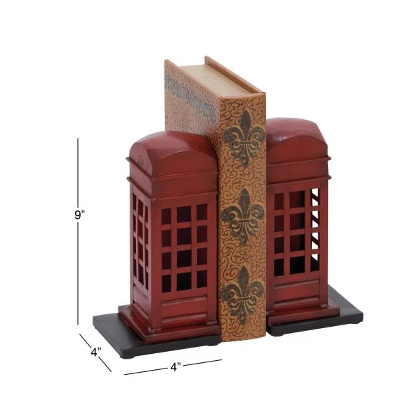 Sigma Set Of 2 Red Telephone Booth Bookends
