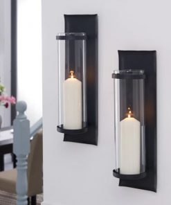 Soren Set of 2 Black Wrought Iron Pillar Candle Sconces With Glass Inserts