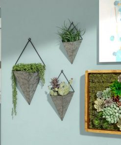 Stvdio Set Of 3 Triangular Galvanized Metal Wall Planters
