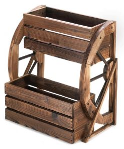 Webster Wooden Wagon Wheel Double-tier Raised Garden Planter Boxes
