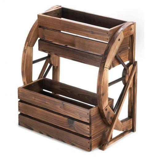 Webster Wooden Wagon Wheel Double-tier Raised Garden Planter Boxes