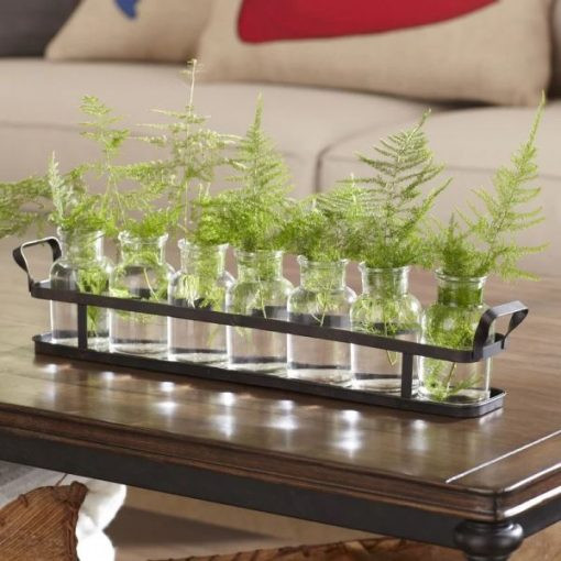inky Set of 7 Glass Bottles On Rectangle Metal Tray With Handles