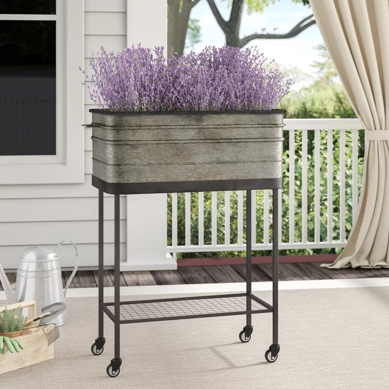Wynonna Metal Bucket Planter On Wheels