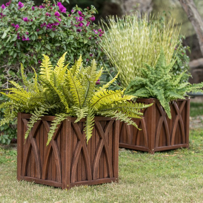 Zodiac Set of 2 Curved X Shapes Ashbury Wood Planters