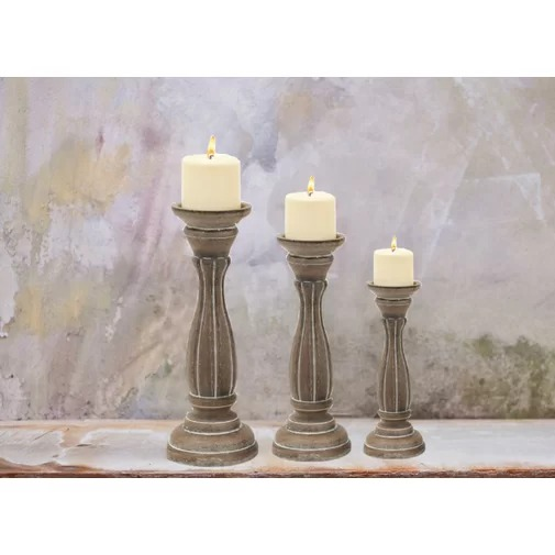Zodiac Set of 3 Wood Pillar Candlestick Candleholders