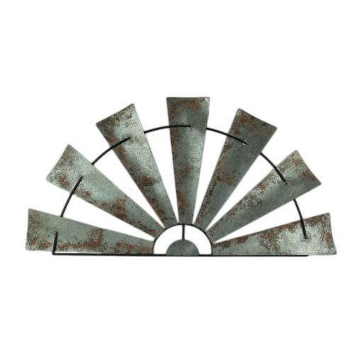 Brittania Galvanized Metal Half Windmill Rustic Wall Hanging Sculpture