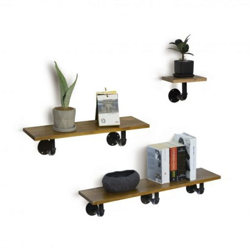 Calypso Set of 3 Industrial Floating Pipe Wall Shelves