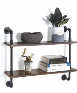 Caudalie Two Tiers Wood Industrial Pipe Wall Shelving