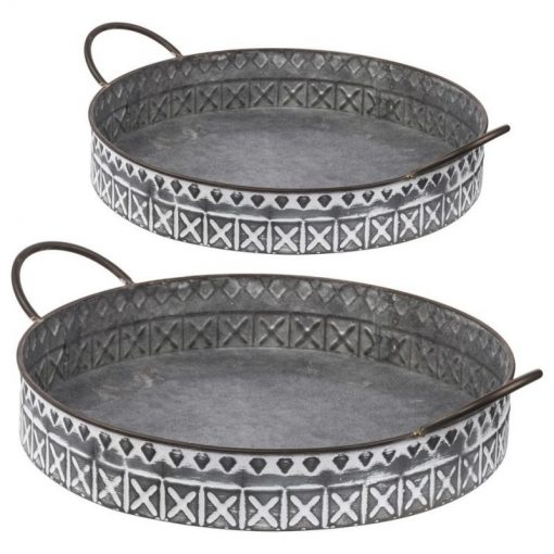 Cora Metal Round Serving Trays,2-Piece Set