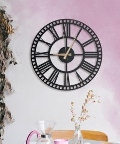 Rail Wall Clocks Matte black textured paint