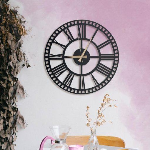 Rail Wall Clocks Matte black textured paint