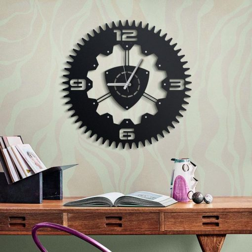 Rotary Wall clock Matte black paint