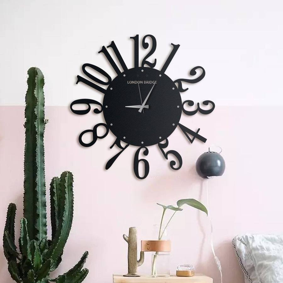 London Bridge Wall clock Matte black textured paint