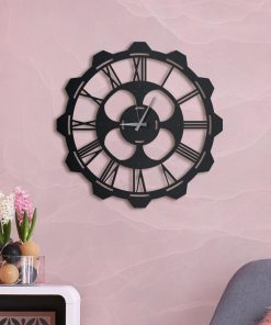 Clover Wall clock Matte black paint