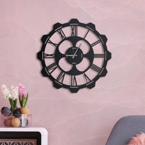 Clover Wall clock Matte black paint