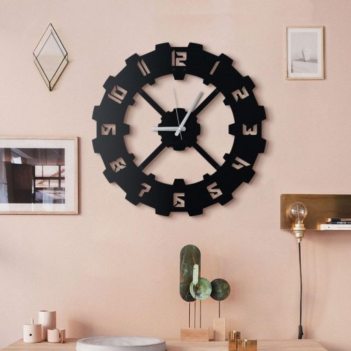 Techie Wall clock Matte black textured paint