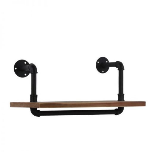 Ilia Uneven Industrial Pipe Design and Ash Wood Floating Wall Shelf