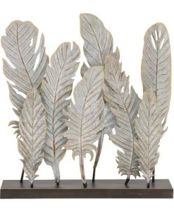 Les Gray Simple Metal Feather Decor