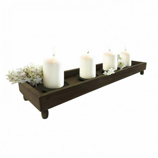 Mackenzie Antique Wood Tray With 4 Metal Candleholders