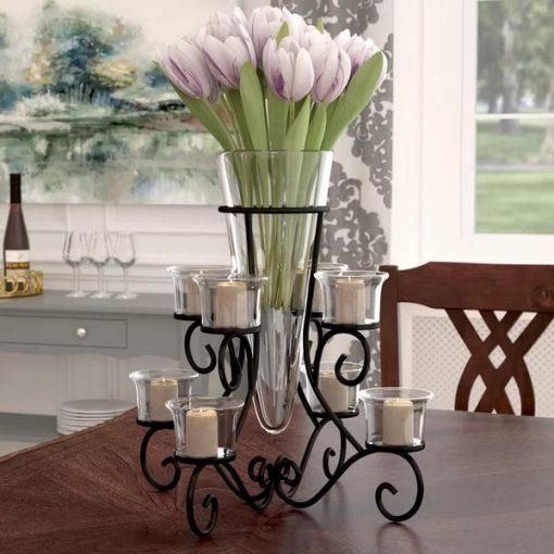 Marfa Black Wrought Iron Candelabra with Glass Flower Vase Centerpiece