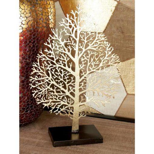 Maui Iron Metal Gold Leaf with Cutout Veining Sculpture Manufacturer