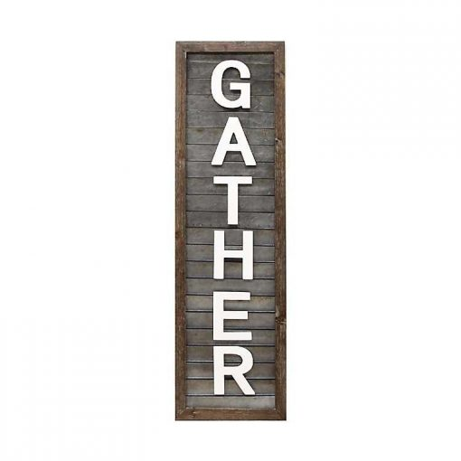 Nicolette Gather Letters Framed Shutter Wall Plaque,Wood and Metal