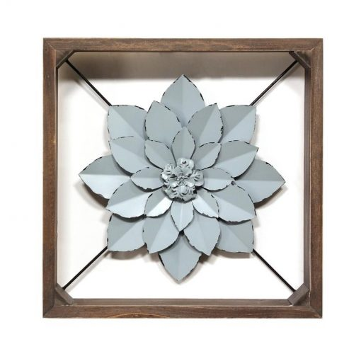 Ponce Wood Framed with Metal Flower Wall Décor Art