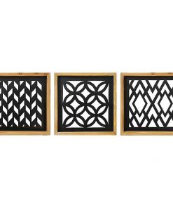 Sabina Metal Laser Cut Wall Plaques with Wood Framed , Set of 3