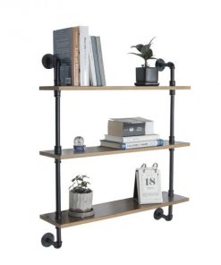 WelleCo Three Tiers Wood Wall Industrial Pipe Shelving