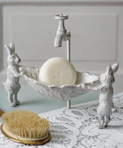 farmhouse cast iron bunny soap dish