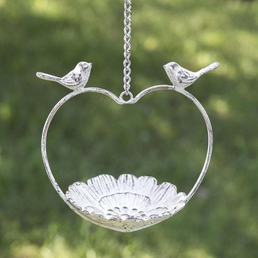 farmhouse country cast iron love bird feeder