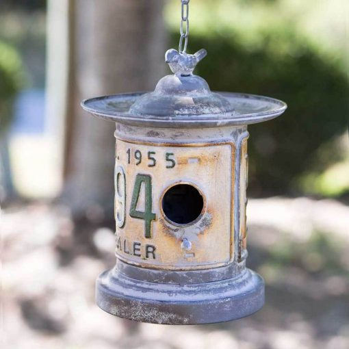 farmhouse country round license plate hanging birdhouse
