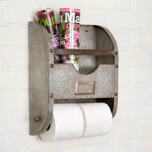 farmhouse galvanized toilet paper holder and magazine rack
