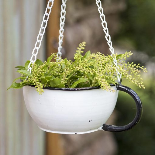 farmhouse hanging tea cup birdfeeder