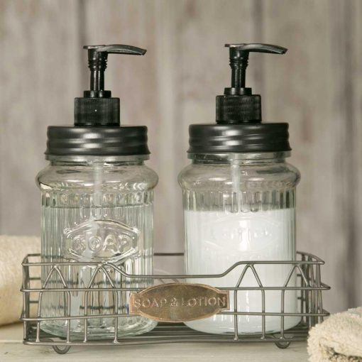 farmhouse hoosier caddy glass soap and lotion dispensers
