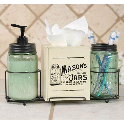 farmhouse mason jar bathroom caddy with mason jars and tissue box cover