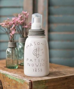 farmhouse mason jar foaming soap dispenser white