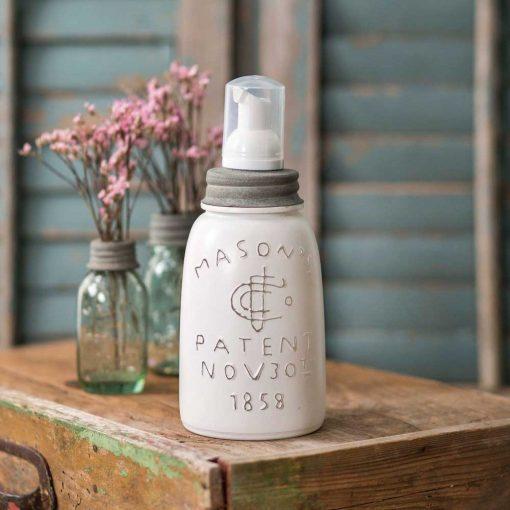 farmhouse mason jar foaming soap dispenser white
