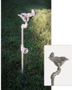 farmhouse metal garden stake bird bath