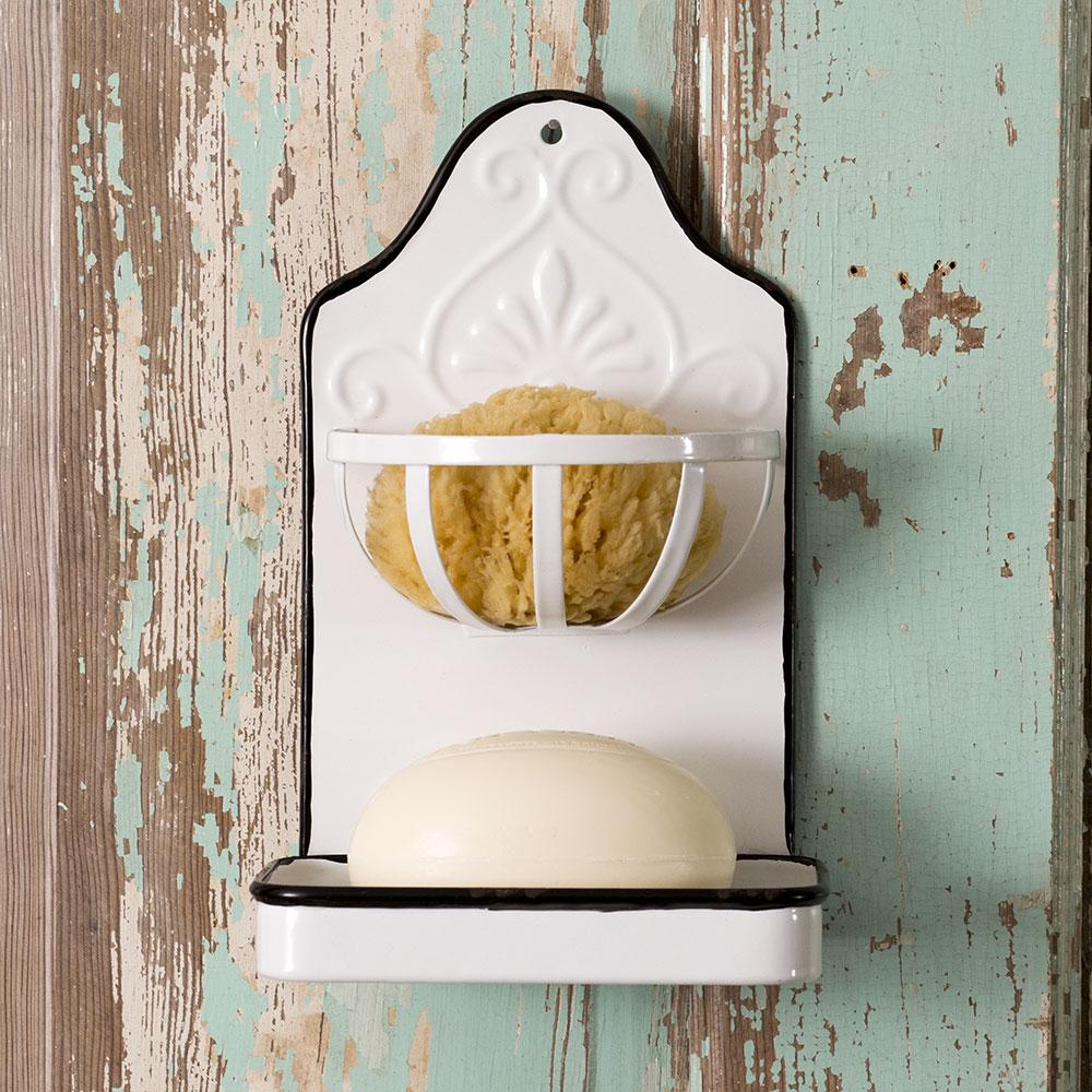 farmhouse metal wall soap and sponge holder