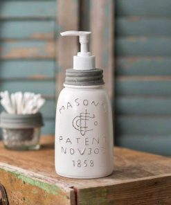 farmhouse midget pint mason jar soap dispenser white