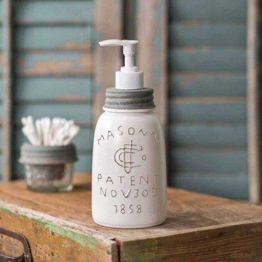 farmhouse midget pint mason jar soap dispenser white